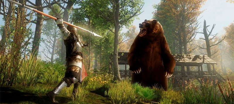 New World копьеносец против медведя